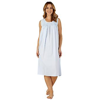 Slenderella ND3255 Frauen Baumwolle gewebt Blue Night Gown Loungewear Nachthemd