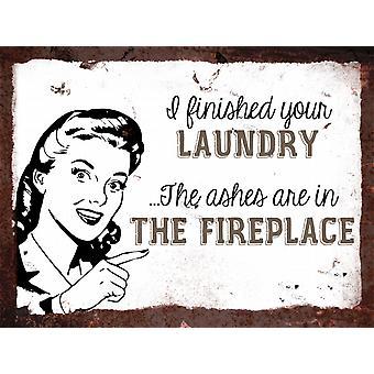 Vintage metalowy znak ściana - skończyłam pranie
