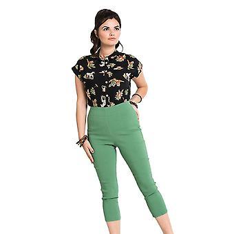 Hell Bunny Khaki Tina Capri Trousers XL