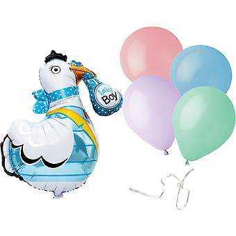 Baby jongen ooievaar en Latex ballonnen door ballon sealer