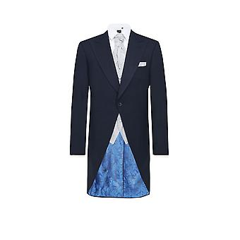 Dobell Mens Navy Herringbone Morning Wedding Tailcoat Regular Fit