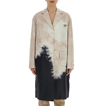 Prada White/black Leather Trench Coat