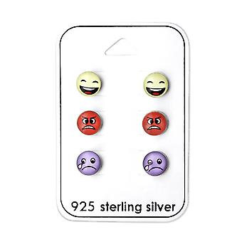 Children's Sterling Silver Emoji Stud Earrings Set