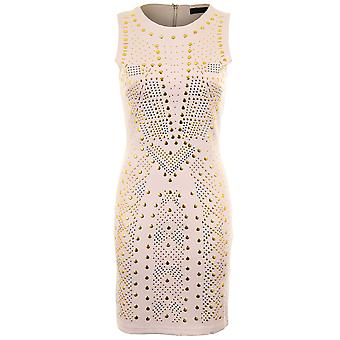 Ladies Gold Studded Stretch Bodycon Fitted Party Evening Women's Dress