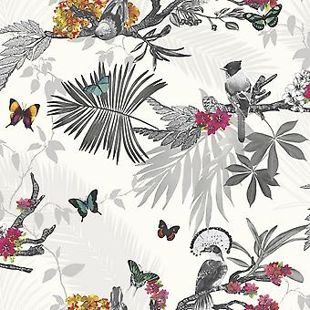 Arthouse Mystic Forest Tropical Leaf Floral Wallpaper Sliver Glitter Flowers