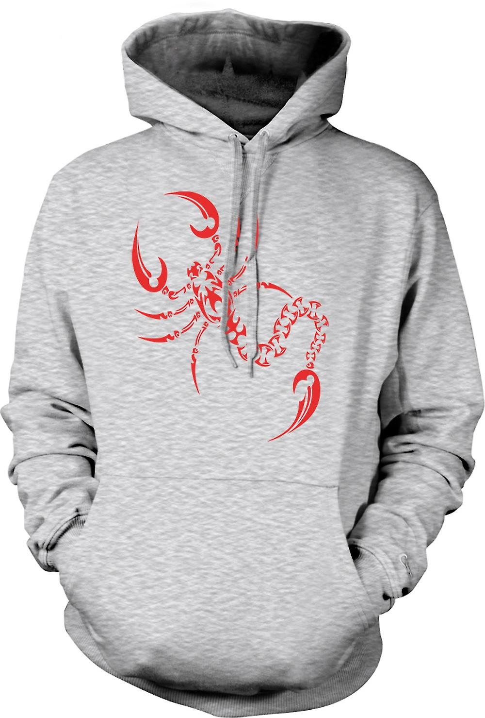 Mens Hoodie - Scorpion Tribal Design