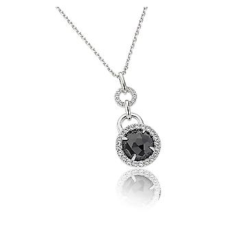 PENDANT WITH CHAIN 925 SILVER BLACK ROUND ZIRCONIUM