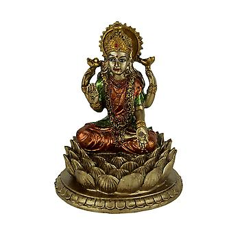 Gold Finish Laxmi Hindu Goddess On Lotus Flower Statue