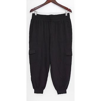 Anybody Women's Petite Pants SP Loungewear Cozy Knit Cargo Black A310165