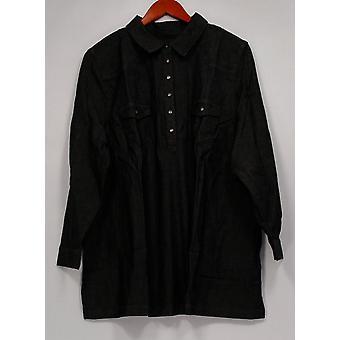 Denim & Co. Women's Petite Top XLP Stretch Denim Tunic Black A260205