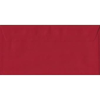 Scharlakansröda röda skal/sigill DL färgade röda kuvert. 100gsm FSC hållbart papper. 110 mm x 220 mm. plånbok stil kuvert.