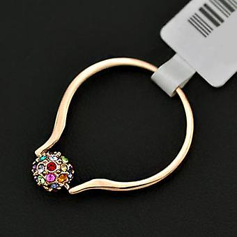 18K Rose Gold Plated Paved Ball Ring