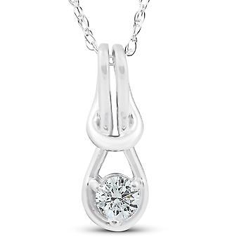 Diamond Knot Petite Pendant 10K White Gold 1/2