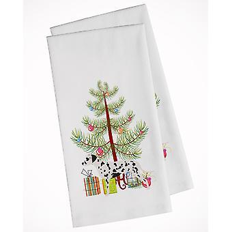 Dalmatian Merry Christmas Tree White Kitchen Towel Set of 2