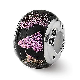 925 Sterling Silver Antique finish Reflections Pink Purple Hearts Dichroic Glass Bead Charm
