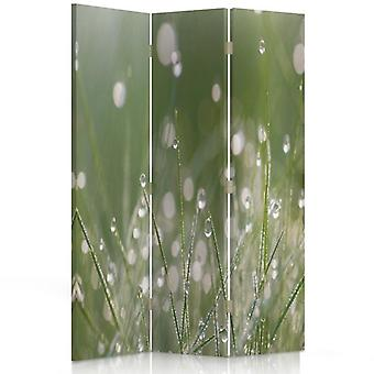 Room Divider, 3 Panels, Double-Sided, 360 ° Rotatable, Canvas, Drops Of Dew On The Grass