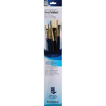 Real Value Brush Set Natural Bristle Round 6, Filbert 4, Bright 8, Flat 12 P9131