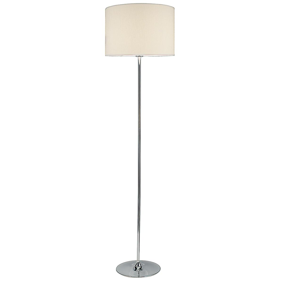 Dar DEL4950 Delta Contemporary Chrome Floor Lamp With Cream Woven Shade