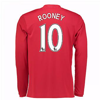 2016-17 Man United Home Long Sleeve Shirt (Rooney 10) - Kids