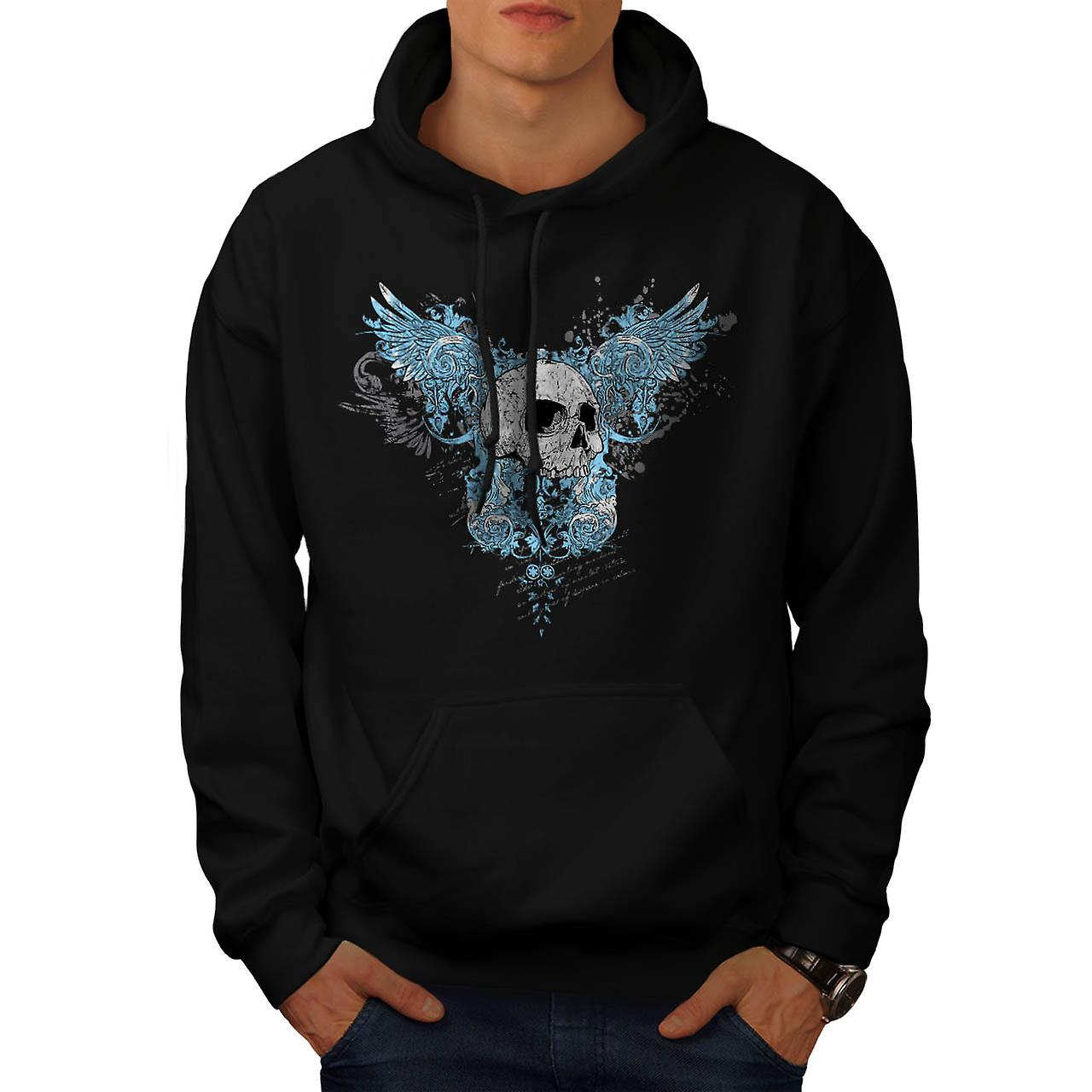 Hell Heaven Skull Jaw Angel Wing Men Black Hoodie | Wellcoda