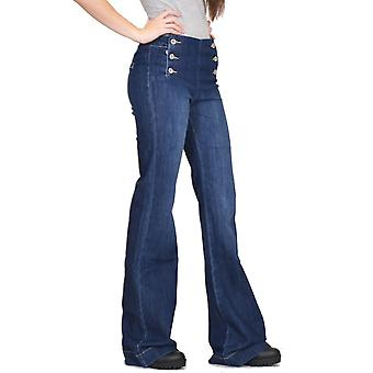 70s Style Flares Wide Flared Stretch Jeans - Dark Blue