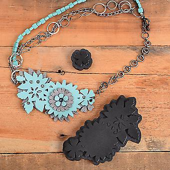 Sizzix Movers & Shapers Magnetic Dies By Jill MacKay (R)-Floral Leather Necklace 660588