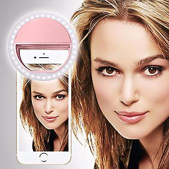 For Motorola Moto C Plus - Clip on Selfie Ring 36 LED Light Round Shape Adjustable 3 Brightness Levels (Baby Pink) by i-Tronixs