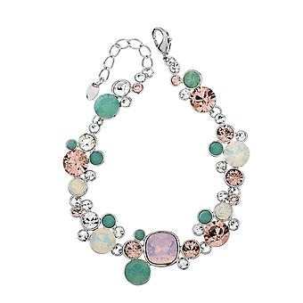 Platinum Plated Multicolor Swarovski Elements Crystals Bracelet, 17cm