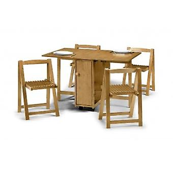 Hailey Extension Table And 4 Chairs - Light Oak Finish - Chairs Fully Assembled
