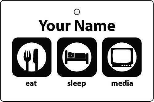 Personalised Eat Sleep Media Car Air Freshener