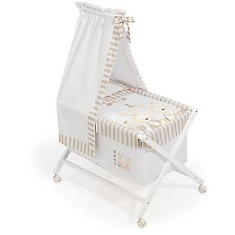 Interbaby Minicuna White With Textile canopied Model Baby Bunny Beige