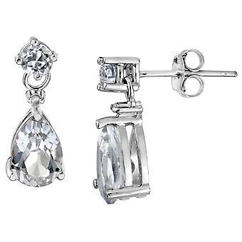 Created White Topaz Teardrop Earrings with Diamond 2.00 (ctw) in Sterling Silver