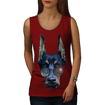 Cool Dog Doberman Animal Women Red Tank Top | Wellcoda