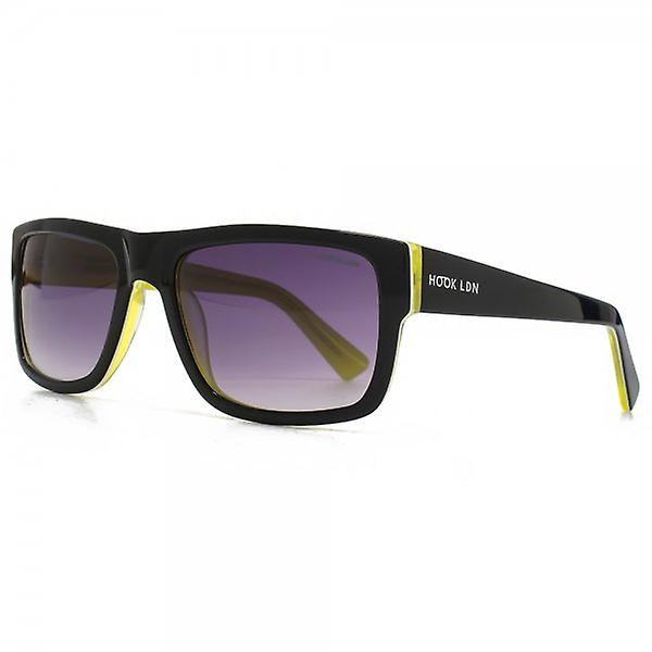 Hook LDN Blitz Sunglasses In Black On Lime Yellow