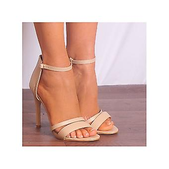Shoe Closet Nude Strappy Heels - Ladies Jojo-20 Nude Pu Peep Toes Stilettos Ankle Strap Strappy Sandals High Heels