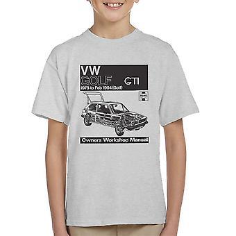 Taller de Haynes Manual VW Golf GTI 78 a 84 negro camiseta de niño