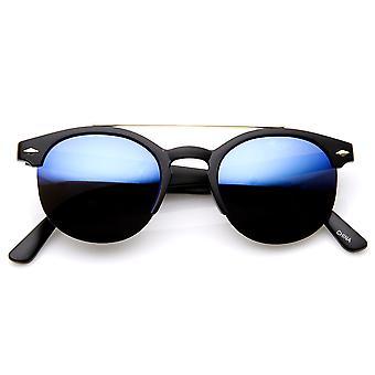 Double Bridge Half Frame Keyhole Flash Lens Round Sunglasses