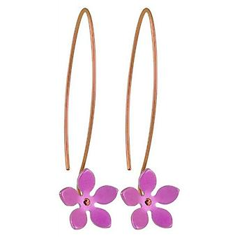 Ti2 Titanium 13mm Five Petal Flower Drop Earrings - Candy Pink