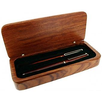 Gift Time Products Deluxe Box with Slim Pen and Roller Ball Clip Pen - Dark Brown/Gold