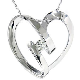 1 / 4ct coração em forma de diamante pingente 14K ouro branco