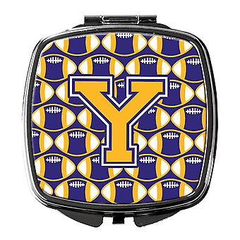 Letter Y Football Purple and Gold Compact Mirror