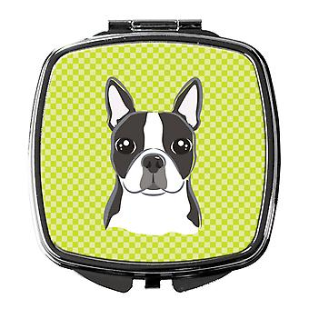 Checkerboard Lime Green Boston Terrier Compact Mirror