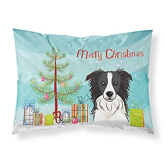 Árbol de Navidad y Border Collie tela funda de almohada estándar