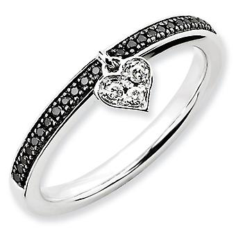 Sterling Silver Stackable Expressions Heart Black and White Dia. Ring - Ring Size: 5 to 10