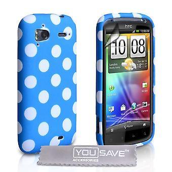 Yousave Accessories HTC Sensation Blue Polka Dot Case