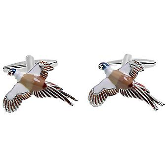 Zennor Flying Pheasant Cufflinks - Brown/White/Blue