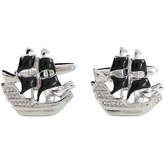 Zennor Pirate Ship Cufflinks - Silver/Black