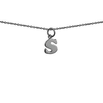 Silver 11x9mm plain Initial S Pendant with rolo Chain 14 inches Only Suitable for Children
