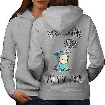 Overthinking Hungry Women GreyHoodie Back | Wellcoda