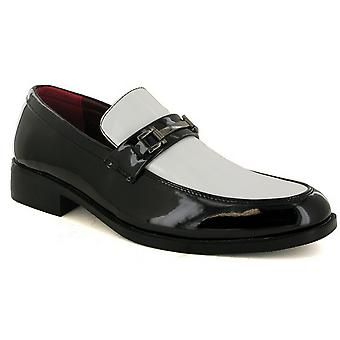 Mens New Slip On Patent Chain Trim Wedding Dress Suit Formal Shoes